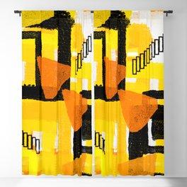 yellow orange white black abstract geometric digital painting Blackout Curtain