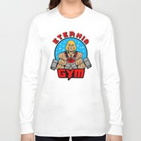 gym Long Sleeve T-shirts featuring Eternia Gym by Buby87