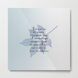 Serenity Prayer with Leaf Metal Print