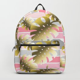 Tropical gold cheese leaves pastel color stripes Backpack