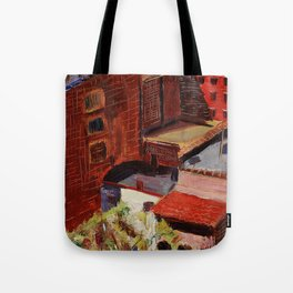 Classical African American Landscape 'Over the Harlem Rooftops' by Malvin Gray Johnson Tote Bag