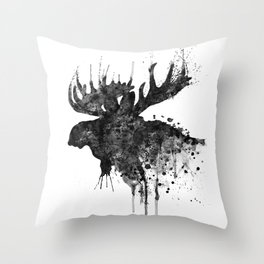 Black and White Moose Head Watercolor Silhouette Throw Pillow