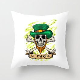 St. Patrick Skull - Irish St. Patrick's Day Throw Pillow