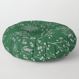 Forest green country chic faux silver floral leaves Floor Pillow