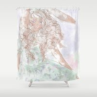 lolita Shower Curtains featuring Lionhead Lolita by Katherine Rose