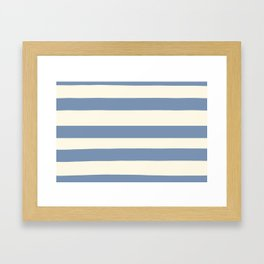 Dusk Sky Blue 27-23 Hand Drawn Fat Horizontal Lines on Dover White 33-6 Framed Art Print