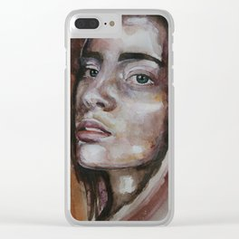 art work, watercolor portrait, beautiful face model with green eyes, original Clear iPhone Case