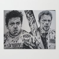 shaun of the dead Canvas Prints featuring SHAUN OF THE DEAD by waynemaguire777