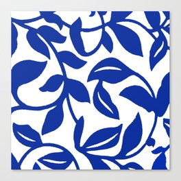 PALM LEAF VINE SWIRL BLUE AND WHITE PATTERN Canvas Print