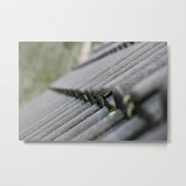 Sharp/depth photography of a row of roof tiles, The grey blue colours with the green moss Metal Print