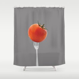 fork with tomato - grey Shower Curtain