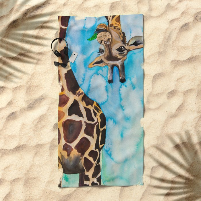 friendly giraffe Beach Towel