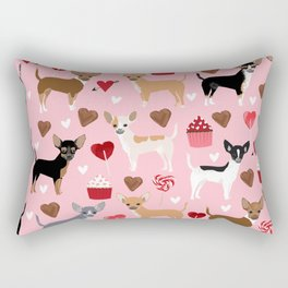 Chihuahua cute love hearts dog breed custom pet portraits dog lover valentines day gifts Rectangular Pillow