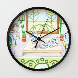 Ladies' night with a naked man Wall Clock