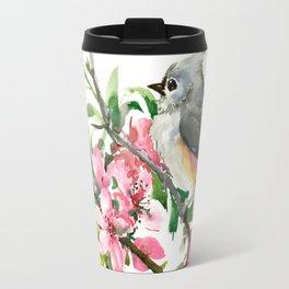 Titmouse and Cherry Blossom Travel Mug