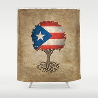 puerto rico Shower Curtains featuring Vintage Tree of Life with Flag of Puerto Rico by Jeff Bartels