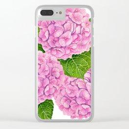 Hydrangea waterolor pattern Clear iPhone Case