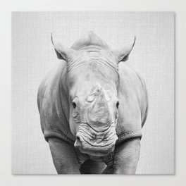 Rhino 2 - Black & White Canvas Print