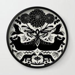 Life and Death Illustration // Moth, Raven, Fox, Jawbone & folk art botanicals with background Wall Clock