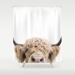 Peeking Highland Cow Shower Curtain