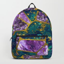 Amethyst and Green Marble Gold Backpack