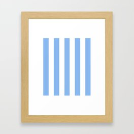 Jordy blue - solid color - white vertical lines pattern Framed Art Print