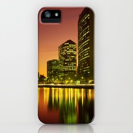 Lake Merritt and Downtown Oakland in Golden Sunset iPhone Case