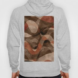 Abstract wavy striped pattern in earth tone colors Hoody