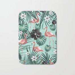 Tropical Flamingo Flower Jungle #3 #tropical #decor #art #society6 Bath Mat