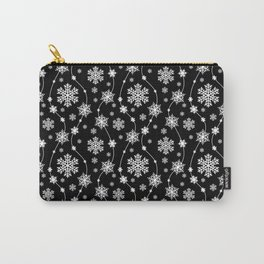 Festive Black and White Snowflake Pattern Carry-All Pouch