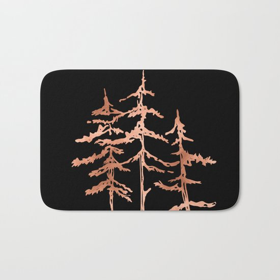 THE THREE SISTERS Trees Rose Gold Bath Mat