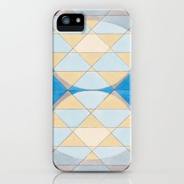 Triangle Pattern No. 14 Circles in Black, Blue and Yellow iPhone Case