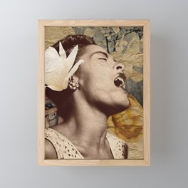 Billie Holiday Vintage Mixed Media Art Collage Framed Mini Art Print