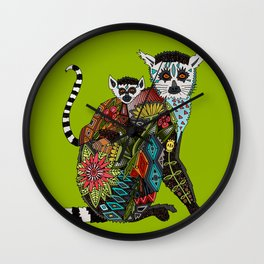 ring tailed lemur love lime Wall Clock