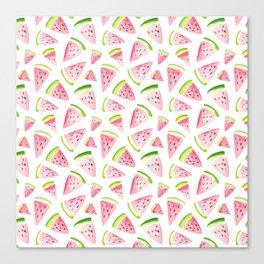 Watercolor Watermelon Pattern Canvas Print