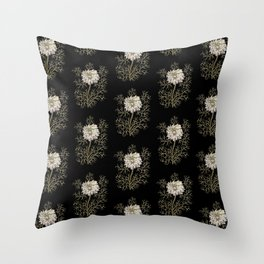 Mysterious Medieval Flower Pattern Throw Pillow