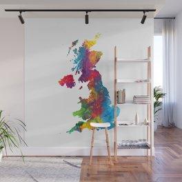 United Kingdom Watercolor Map Wall Mural