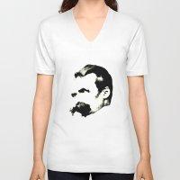nietzsche V-neck T-shirts featuring Nietzsche by johannesart