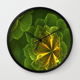 Fractal Flowers With Fog Wall Clock