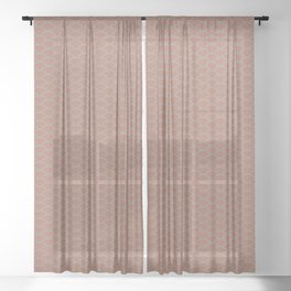Uniform Wave Scallop Pattern 6 Sherwin Williams Cavern Clay SW 7701 and Slate Violet Gray SW9155 Sheer Curtain