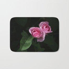 Pink and Dark Green Roses on Black Bath Mat