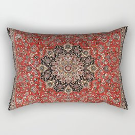 Persia Tabriz Old Century Authentic Colorful Black Burnt Red Vintage Rug Pattern Rectangular Pillow