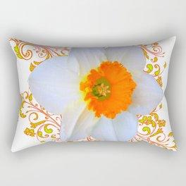 SPRING DAFFODIL SCROLLS ART GARDEN PATTERN Rectangular Pillow