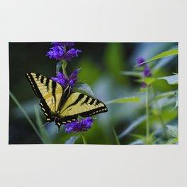 Butterfly on a Purple Flower Rug