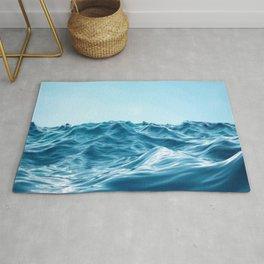 Blue Waves By The Ocean Sky Rug