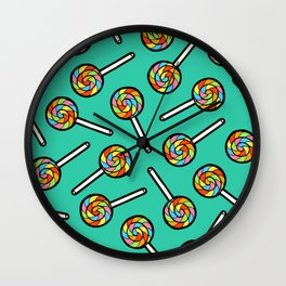 Rainbow Lollipop Pattern Wall Clock