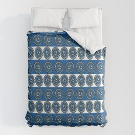 Blue Hearts Striped Comforters