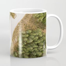 dolomites alps road lake trees forrest drone aerial shot horizon clouds vertical Coffee Mug