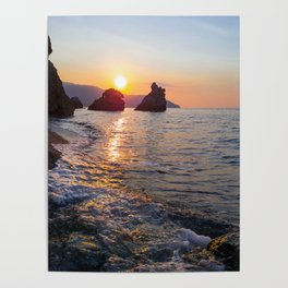 Amazing sunset light Rocky beach rocks in the Sea Natural environment Poster