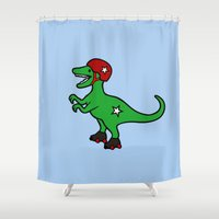 roller derby Shower Curtains featuring Roller Derby Velociraptor by Jez Kemp